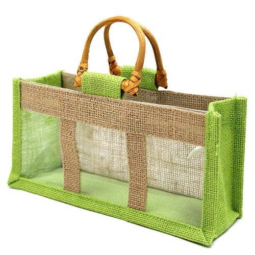 bolsa yute verde tres ventanas